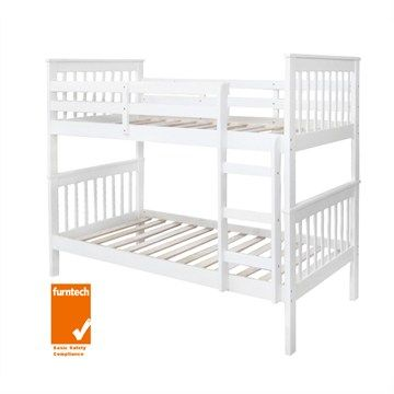 Monza Solid New Zealand Pine Timber King Single Bunk Bed - White