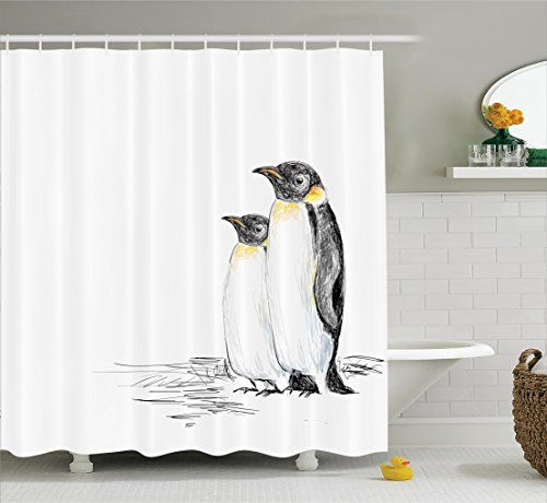 Black and White Shower Curtain Sea Animals Decor by Ambesonne Hand Drawn Style Art Penguins Aquatic Flightless Birds Polar South Pole Wildlife Fabric Bathroom Curtain Set with Hooks Black White >>> You can find more details by visiting the image link.