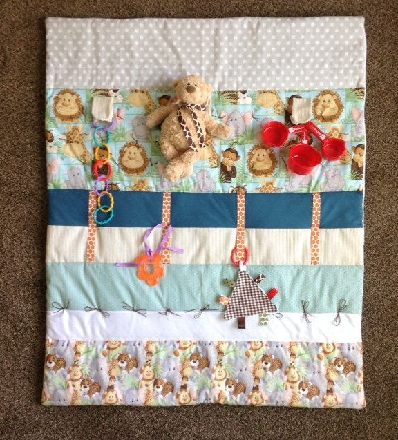 Playing Tag baby quilt Tummy time baby quilt textured and tagged baby blanket in coral and awis