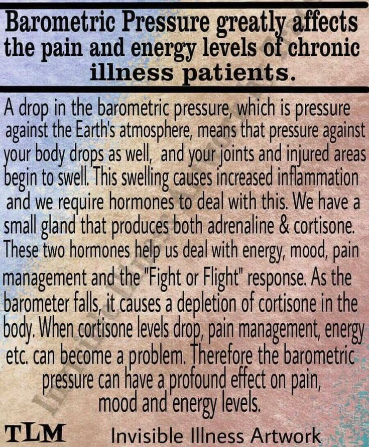 Rheumatoid Arthritis - wow, interesting.  It makes sense now why I feel better when the weather is nicer.  Higher pressure!