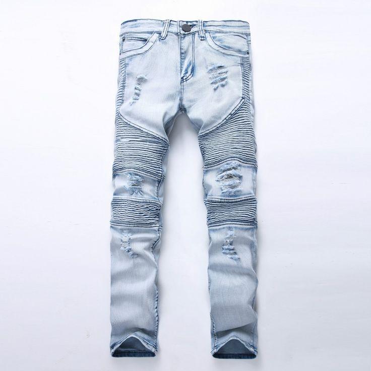 GMANCL Biker Men Jeans Homme Plus Size Hole Slim Fit Distressed Ripped Denim Hip Hop Male Stone Washed Punk  Cotton Jeans