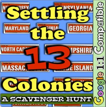 """Students will complete a """"silent scavenger hunt"""" where they will navigate around the room examining each colony's station. Students will create groups and, before they are turned loose, divide up the responsibilities. This lesson is a great introduction to the 13 colonies, especially if examining the general reasons for settlement (religion, wealth, political freedoms)."""
