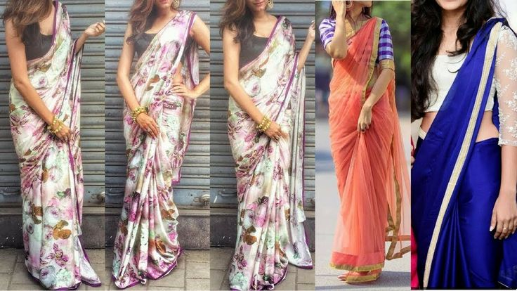 Stylish Saree For Girls / Printed Saree Blouse Ideas for Girls /Farewell...