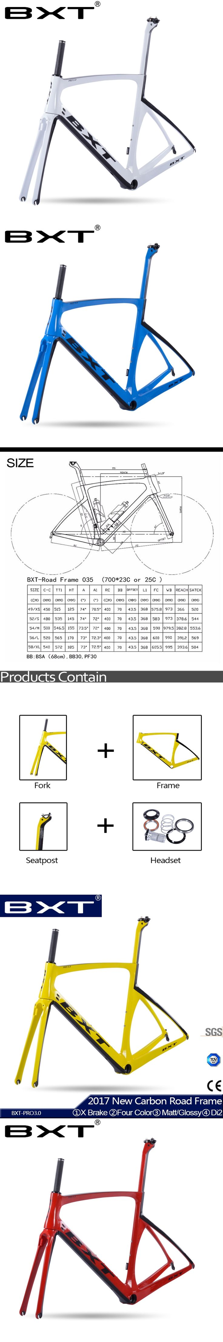 New carbon road bike frame 2017 BXT bicycle road cheap carbon frame Matt/Glossy china Frame carbon road bike parts Free Shipping