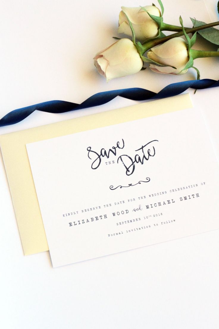 Navy Blue Save the Date Card, Elegant and Modern, Premium Cardboard,  New by Paradise Invitations by ParadiseInvitations on Etsy