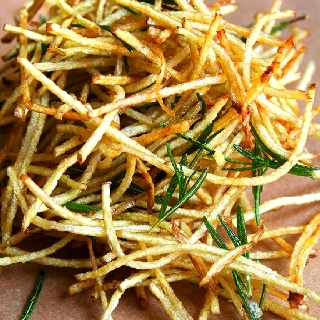 Home made skinny fries with lemon salt and rosemary