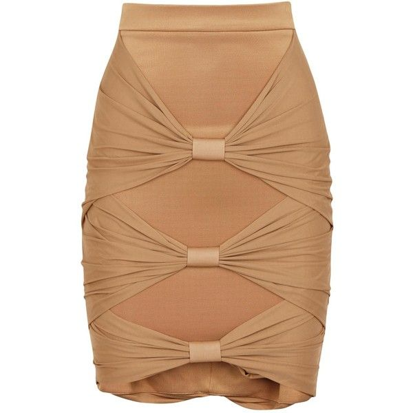 Womens Mini Skirts Balmain Almond Twist-effect Jersey Skirt ($2,285) ❤ liked on Polyvore featuring skirts, mini skirts, balmain, jersey skirt, ruched skirt, twist skirt and balmain skirt