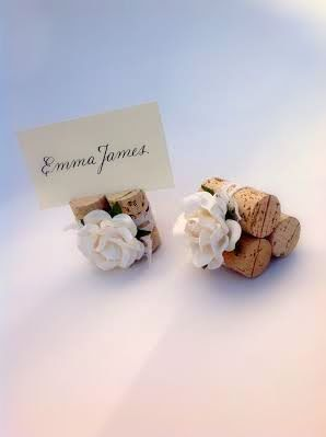 Discover summer wedding place card holder & table décor ideas at www.karasvineyardweddingshop.com  We specialize in custom wine theme wedding decor, with dozens of artisan materials & colors available to choose from!