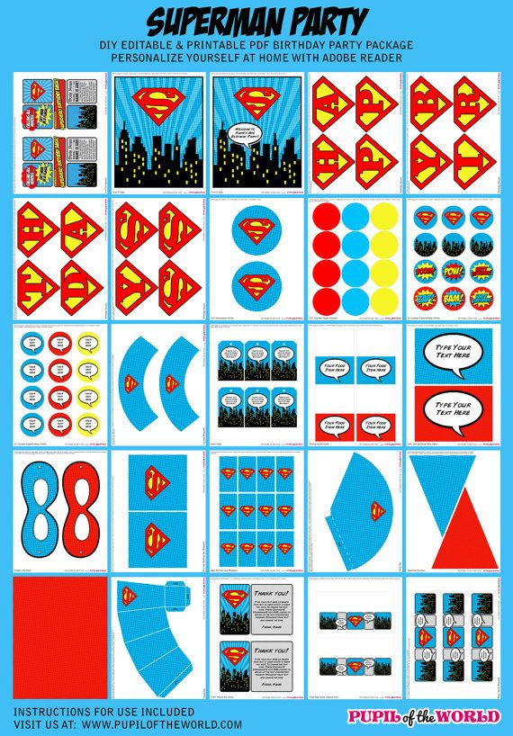 Superman Birthday Party Package - INSTANT DOWNLOAD - Editable Text - DIY Digital Printable