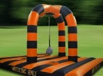 This vibrant inflatable game is a huge impact! This is the ultimate crowd pleaser. This incredible game with its four raised pedestals and a massive  wrecking ball provides an energetic game for four people that will be a hit with your friends in more ways than one. #stag party in Birmingham