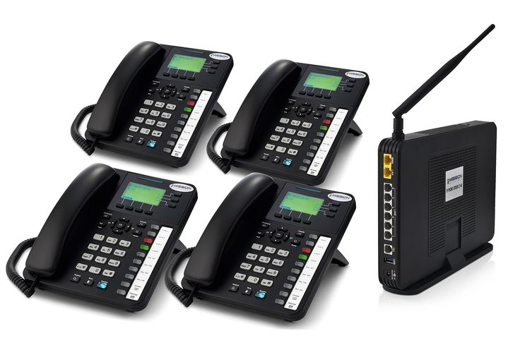 Mission Machines Z60 VoIP Phone System Package with 4 Phones. Z-60 Server & 4 Phones pack. Up to 18 telephone lines (6 standard and 12 Mission Machines VoIP Lines). Up to (49) VoIP Phones (Model # IP-2061). Remote extensions. Voice mail system with 32 hours of storage.