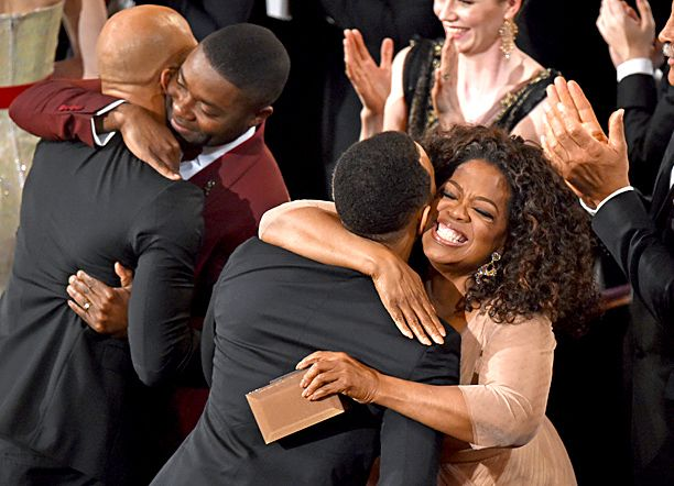 "David Oyelowo and Oprah congratulate Common and John Legend after winning Best Original Song for ""Glory"" #Oscars"