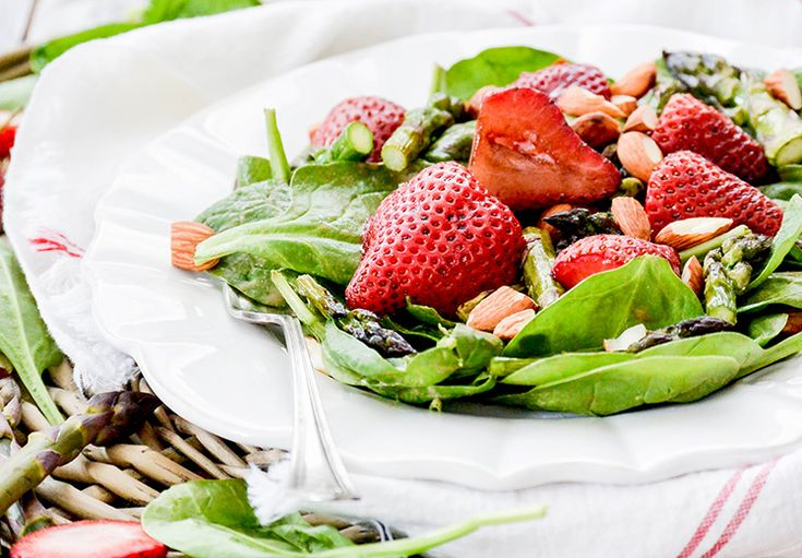 Roasted Strawberry and Asparagus Salad with Strawberry-Tahini Dressing