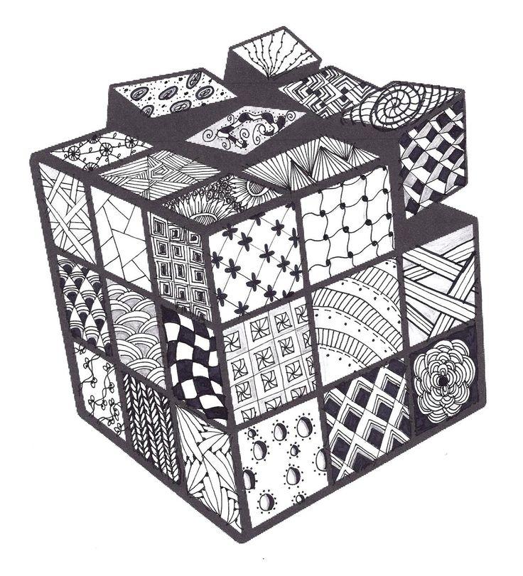 Zentangle Rubik S Cube Zentangle In 2019 Zentangle