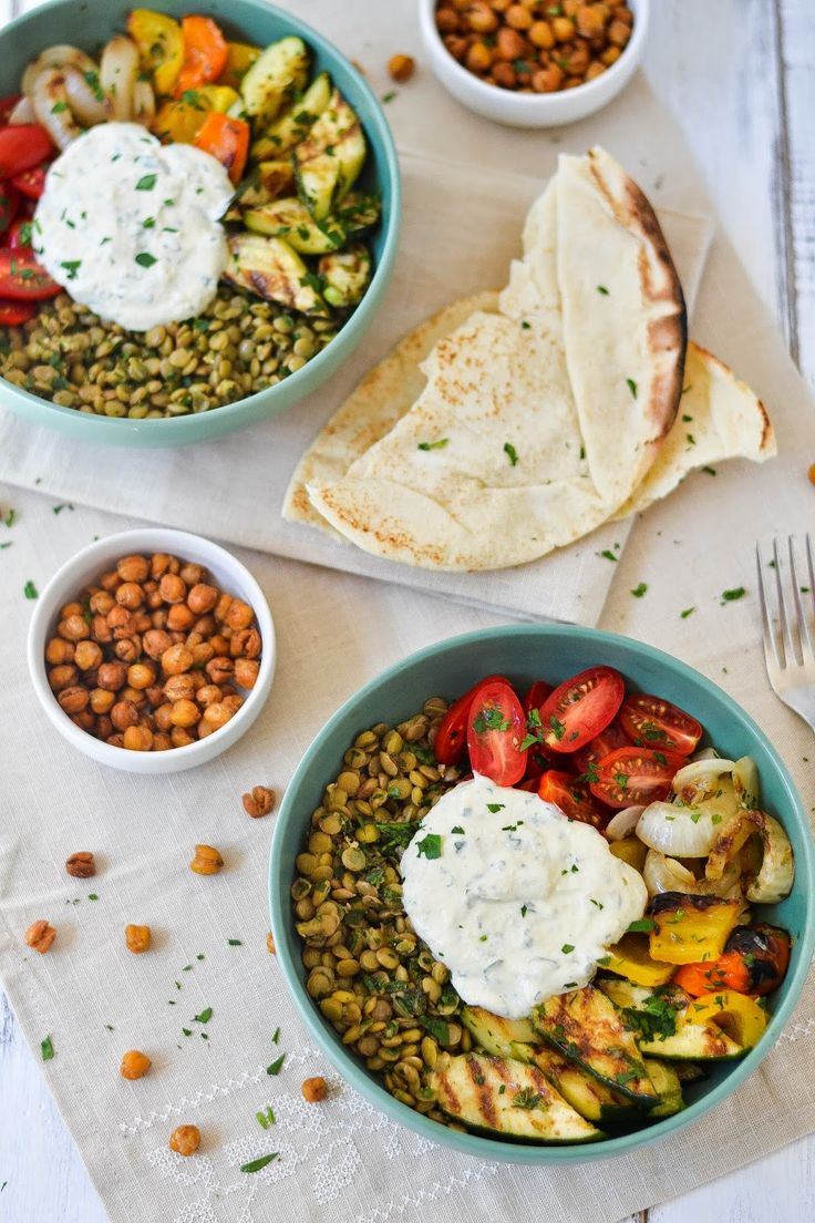 Middle Eastern Grilled Vegetable Lentil Bowls with Falafel-Spiced Roasted Chickpeas Tahini-Yogurt Sauce