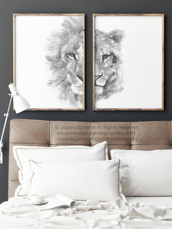 Lion And Lioness Portrait Zodiac Animal Drawing Black White Ilration For Him Her Bedroom Art Print Animals Nursery Kids Room Decor