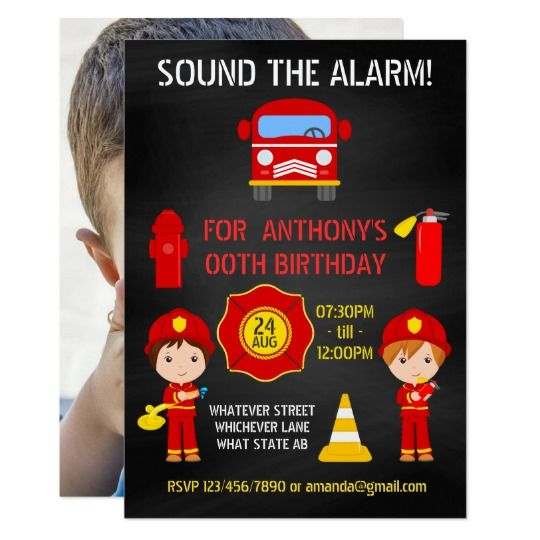 Fireman Birthday Chalkboard add photo invitation