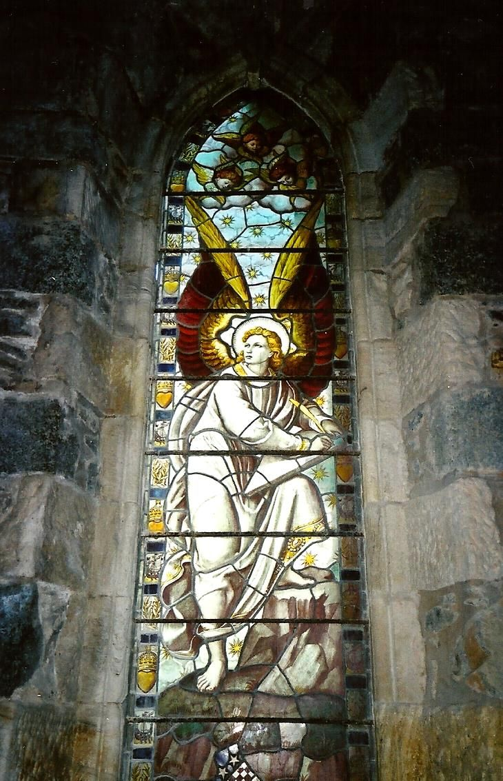 St Conan's Kirk, Loch Awe, Scotland, stained glass angel