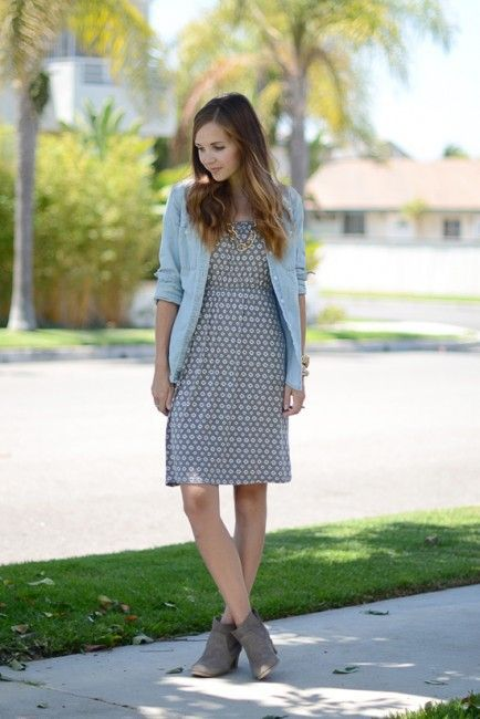 Great for southern fall.....still wear sleevelss dresses....how to wear a chambray shirt