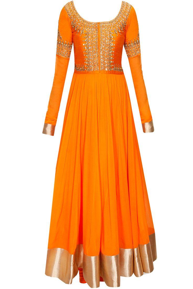 Orange embroidered yoke anarkali set by Vasavi Shah. Shop at: www.perniaspopups...
