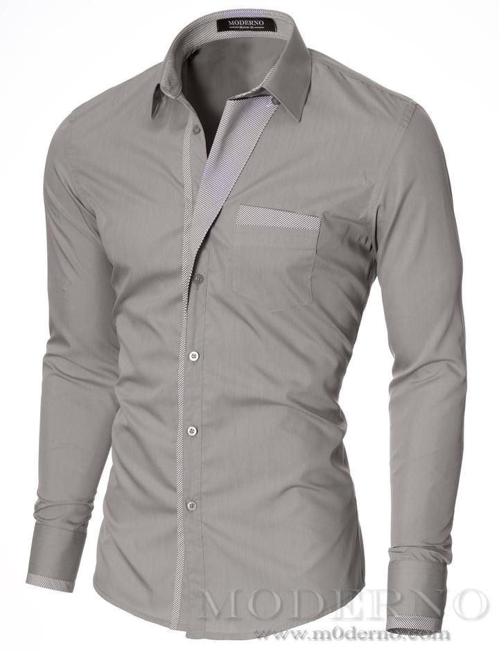 cc1263a13fc8 Mens korean style slim fit gray shirt designed and produced by MODERNO. See  all 11 color variations. Get FREE shipping worldwide and 30 days return  policy