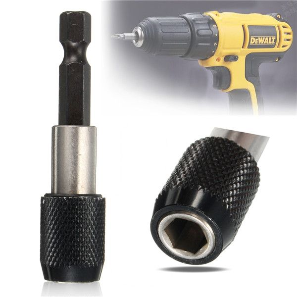 """Description:    1/4 Inch 60mm Quick Release Hex Shank Screwdriver Bit Holder    Specification:      Material: Chrome vanadium steel  Shank type: hex shank  Shank diameter: 6.35mm(1/4"""")  Length: 60mm      Features:      Suitable for electric drill, screwdriver, wind batch transfer using to play the role of releasing bit holder.  Can be used for prolonging different kinds of screwdrivers.  Built-in magnetic, fast, fastening, greatly improve work efficiency.  Rustproof, very durable, c"""