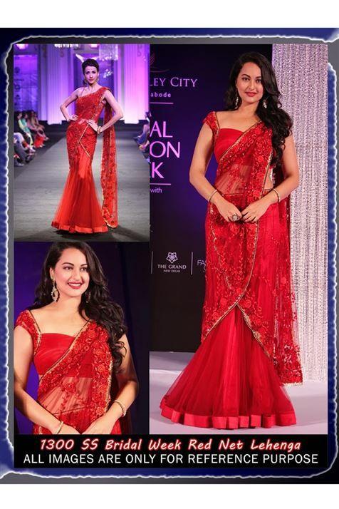 Beautiful Sonakshi Sinha Red Bollywood Replica Lehenga