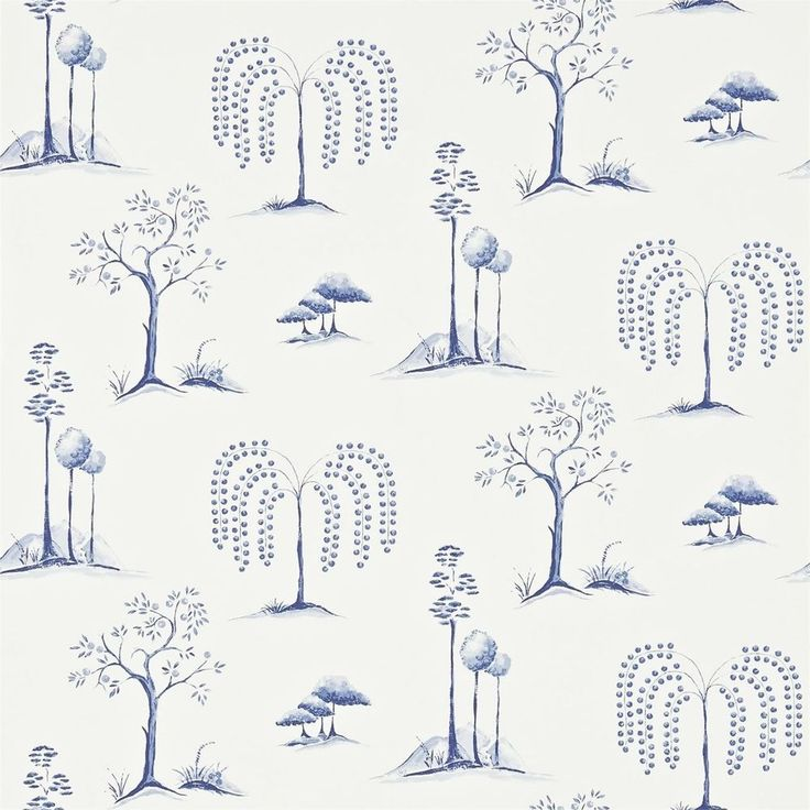 Blue / Ivory - 213724 - Willow Tree - Chika - Sanderson Wallpaper