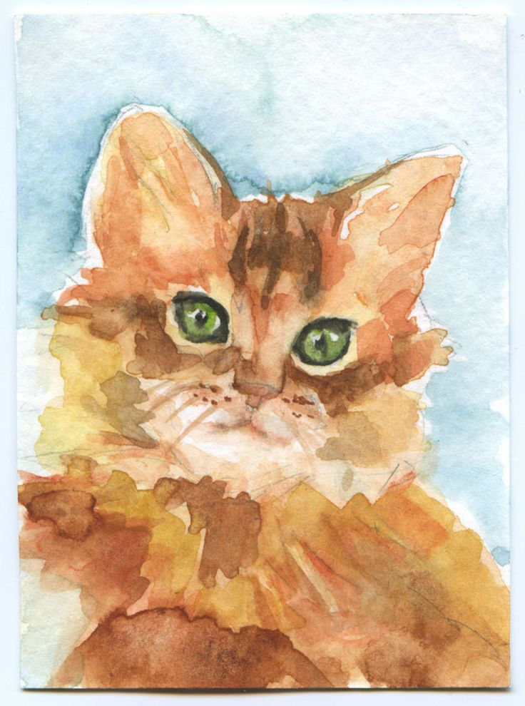 "Kittty Cat ACEO ATC Watercolor Print (the original has been sold) This sweet little cat is 2.5"" x 3.5"". Artist hand signed and dated on back and comes in a protective clear plastic sleeve. ACEO: Art C♥•♥•♥"