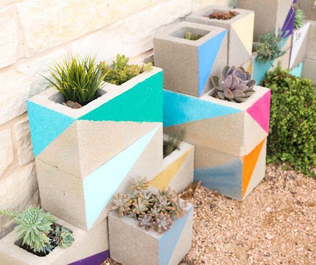Painted cinder block garden. Succulent, planter, colorful, triangle, concrete, yardscape