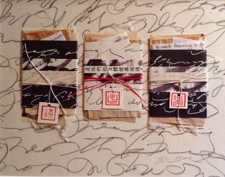 """Three Wish Packets."" Mixed media collage from Salon de Refuse Studio. Artist Rita McNamara. 9.5"" X 7""."