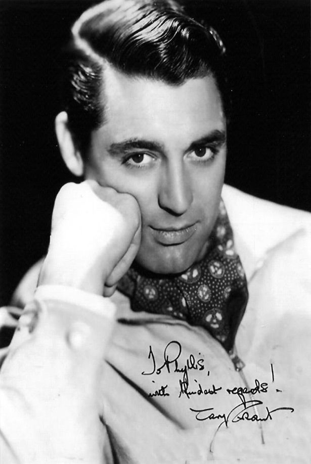 Cary Grant - Grant, born Archibald Alec Leach, starred in a number of movies spanning from the 1930′s to the 1970′s. He was one of Hitchock's favourite actors. Date and photographer: Unknown.