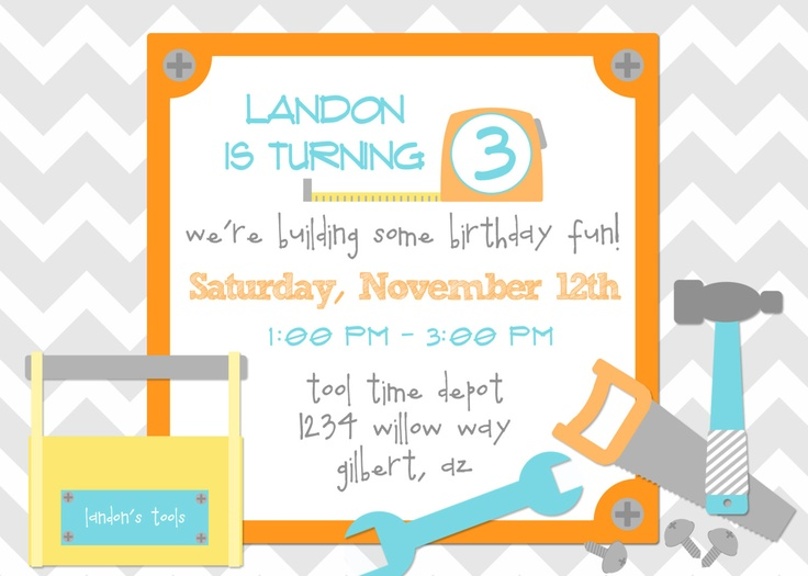 HANDYMAN TOOL TIME Printable Digital Birthday Invite by ...