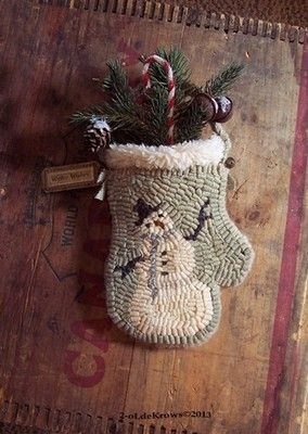 Winter Wishes Primitive Snowman Hand Hooked Rug Wool Mitten Christmas Hanger