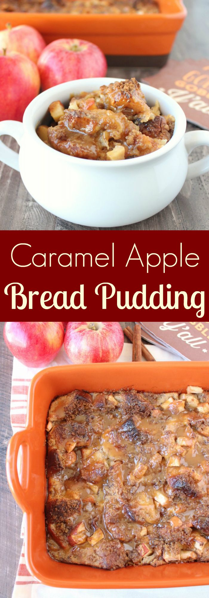 The #WorldMarket Rectangular Potluck Baker is perfect for baking up this scrumptious & simple Caramel Apple Bread Pudding recipe! #WorldMarketTribe