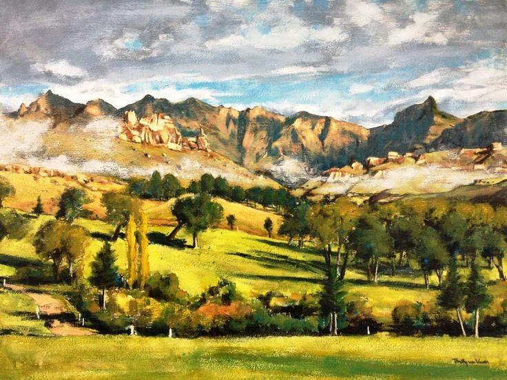 'Rhino Horn, Southern Drakensberg' by South African artist Timothy van Vuuren  See WhereToStay.co.za for Southern Drakensberg Accommodation http://www.wheretostay.co.za/town/southern-drakensberg/accommodation