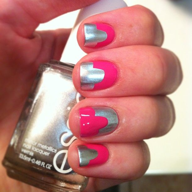 Pink & Silver Nails Using Essies Essie Mirror Metallics
