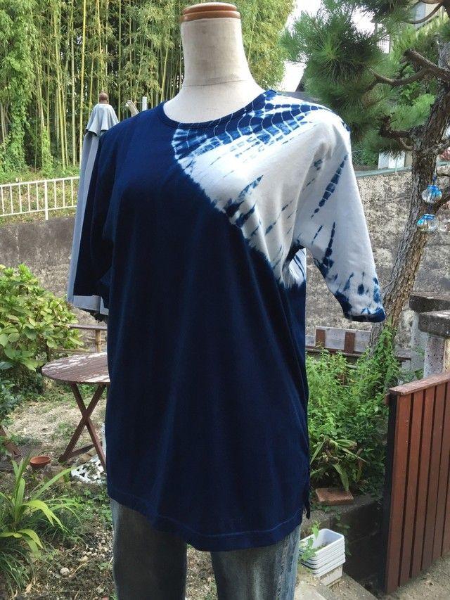 インド藍の絞り染めTシャツ(染め直しサービス付)の画像1枚目