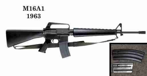"M16 Rifle WEIGHT: 7 lbs (empty), 8.8 lb (loaded) RANGE: Point: 600 yds, Area: 880 yds ROUNDS PER MINUTE: 12–15 rounds/min sustained, 45–60 rounds/min semi-automatic, 700–950 rounds/min cyclic  ""Base upon the ArmaLite AR-15 rifle, the M16 is made of steel, aluminum alloy, and polymer plastics and is much lighter than any previous U.S. infantry rifle."" said Miller. The M16 was approved for use by the military in 1963"