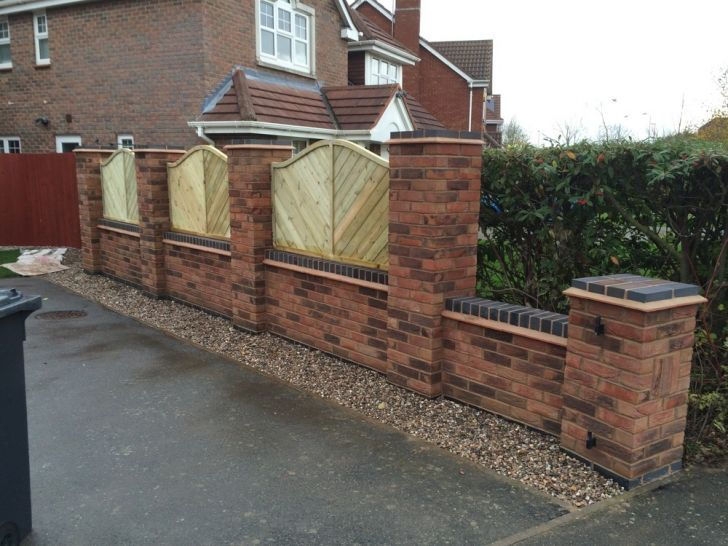 Good Brick Wall With Fence Panels Ideas Brickwalls Fencepanels Fence Housefence Outdoor Exterior Ga Brick Wall Gardens Wall Exterior Garden Wall Lights
