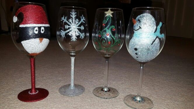 Christmas glitter glasses