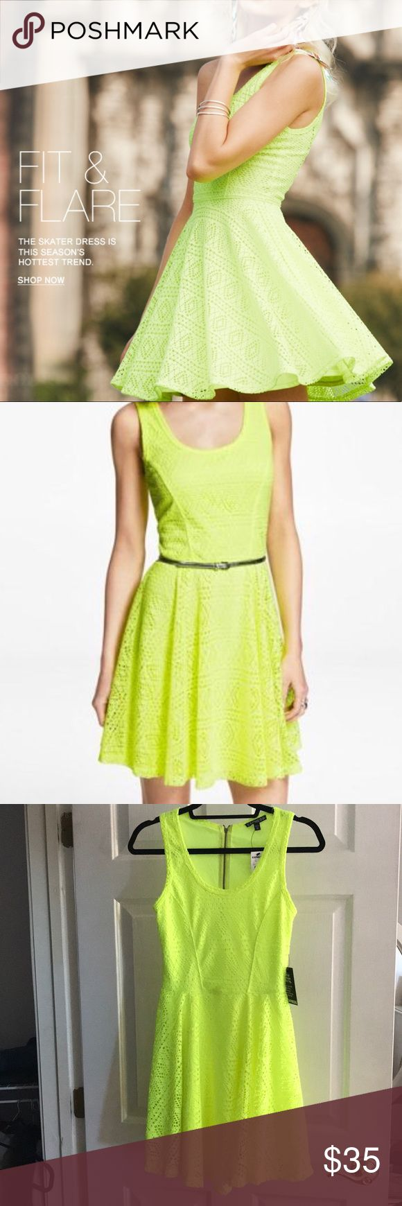 NWT Express Neon Skater Dress NEW WITH ALL TAGS! Express neon yellow geometric lace skater skirt. Super cute color and shape! Has a racer back with zipper. Express Dresses Mini