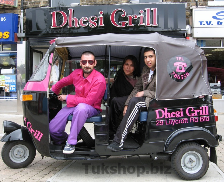 Dhesi Grill restaurant, Bradford with their new Bajaj 4 Stroke tuk tuk from www.tukshop.biz.