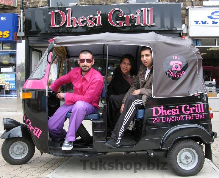 Dhesi Grill restaurant, Bradford with their new Bajaj 4 Stroke tuk tuk from www.tukshop.biz.