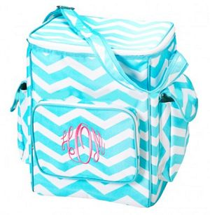 Monogrammed Insulated Aqua Chevron Cooler Bag - Side Pockets