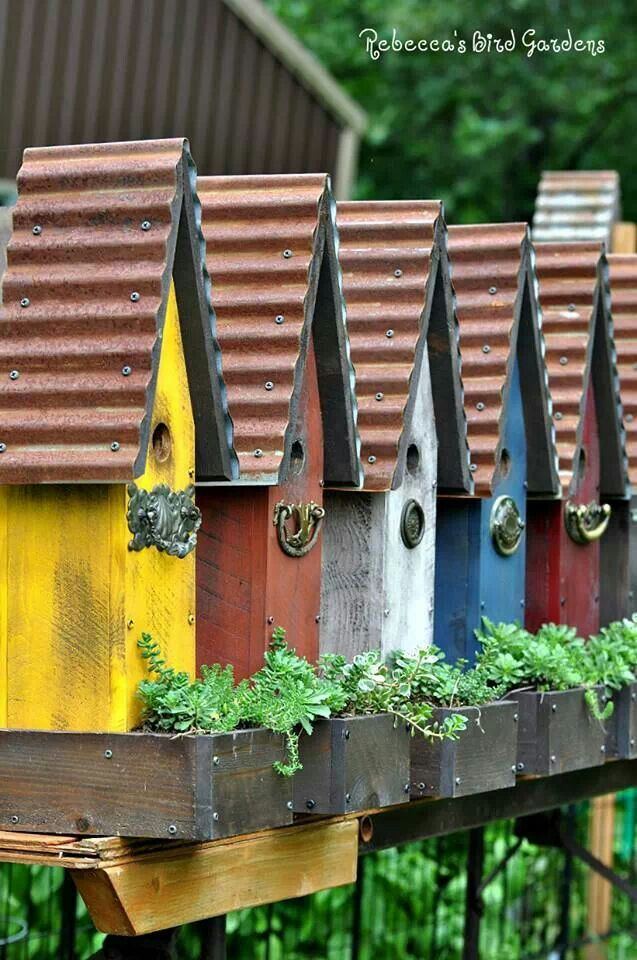 Bird houses, flower box with old hardware - 22 Gorgeous And Unique Birdhouse Designs. I need to show this to my dad :)