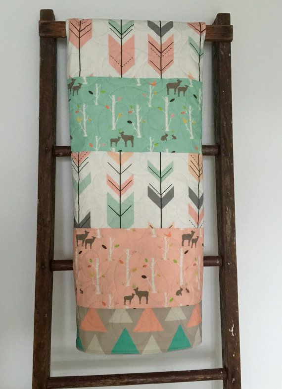 Woodland baby girl quilt. Birch trees - deer - forest - mint - coral - gray - pink - nursery - baby bedding - crib bedding. ***Please allow up to 2-3