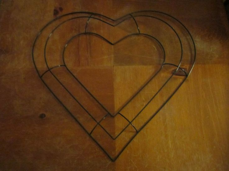 Heart Shaped Wire Wreath Frame 13 1/2 inches across by PlayfulPillowsPlus on Etsy https://www.etsy.com/listing/487667502/heart-shaped-wire-wreath-frame-13-12