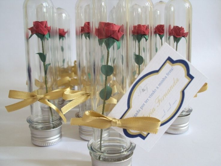 Beauty and the Beast Rose Wedding Favors