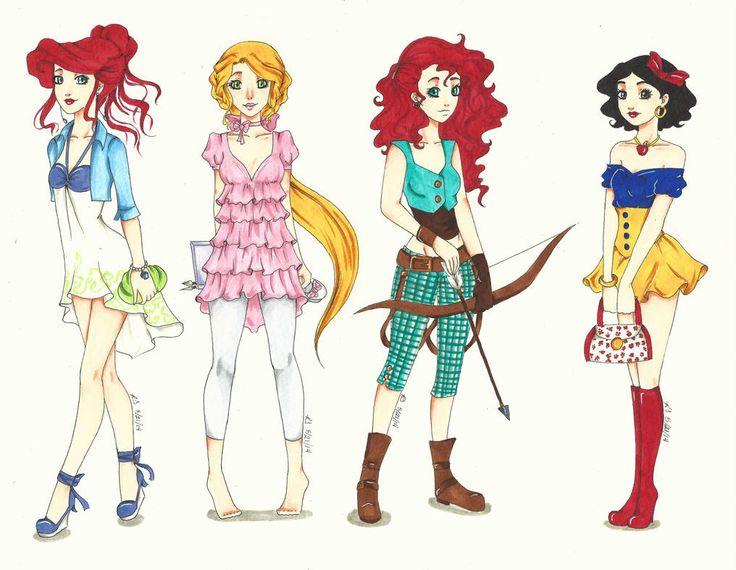 Картинки для срисовки цветными карандашами принцессы диснея в модной одежде